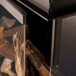 Detalhe de abertura da porta do ecuperador de calor de três lados BIOJAQ DRU MAESTRO