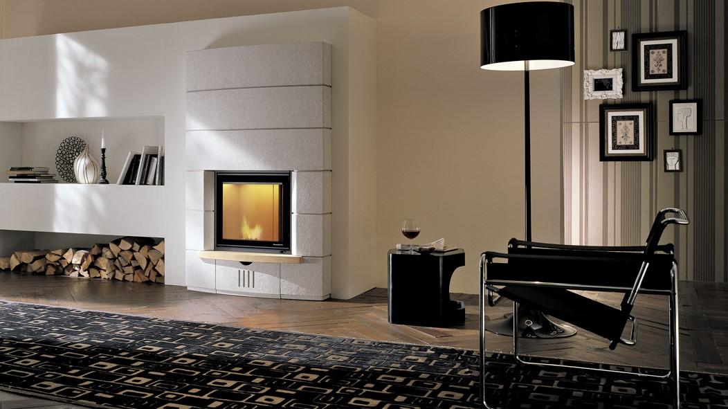 Recuperador de calor combinado BIOJAQ PZT MULTIFIRE NT ARIA inserido em sala
