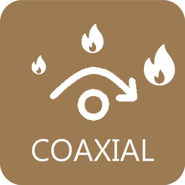 O controlo coaxial otimiza a combustão e o desempenho de acordo com a configuração da instalação.