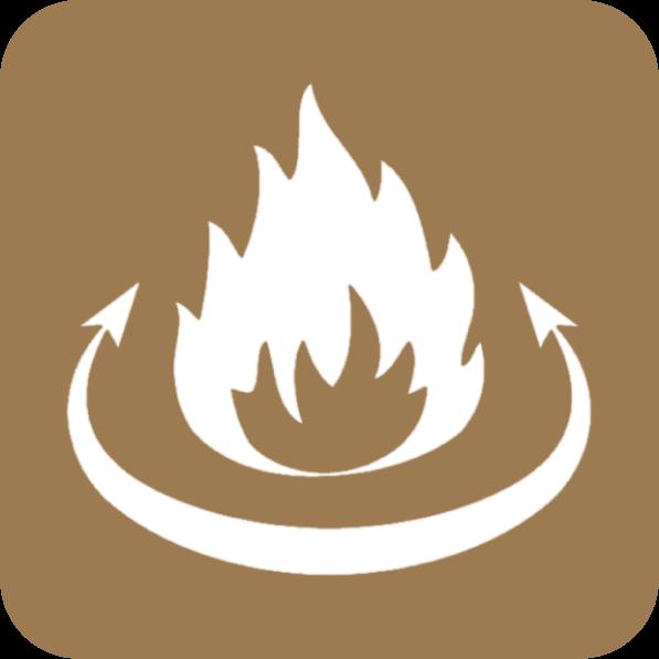 O queimador é giratório e realiza a sua autolimpeza. Permite queimar lenha e pellets, alternando entre ambos de modo simples.