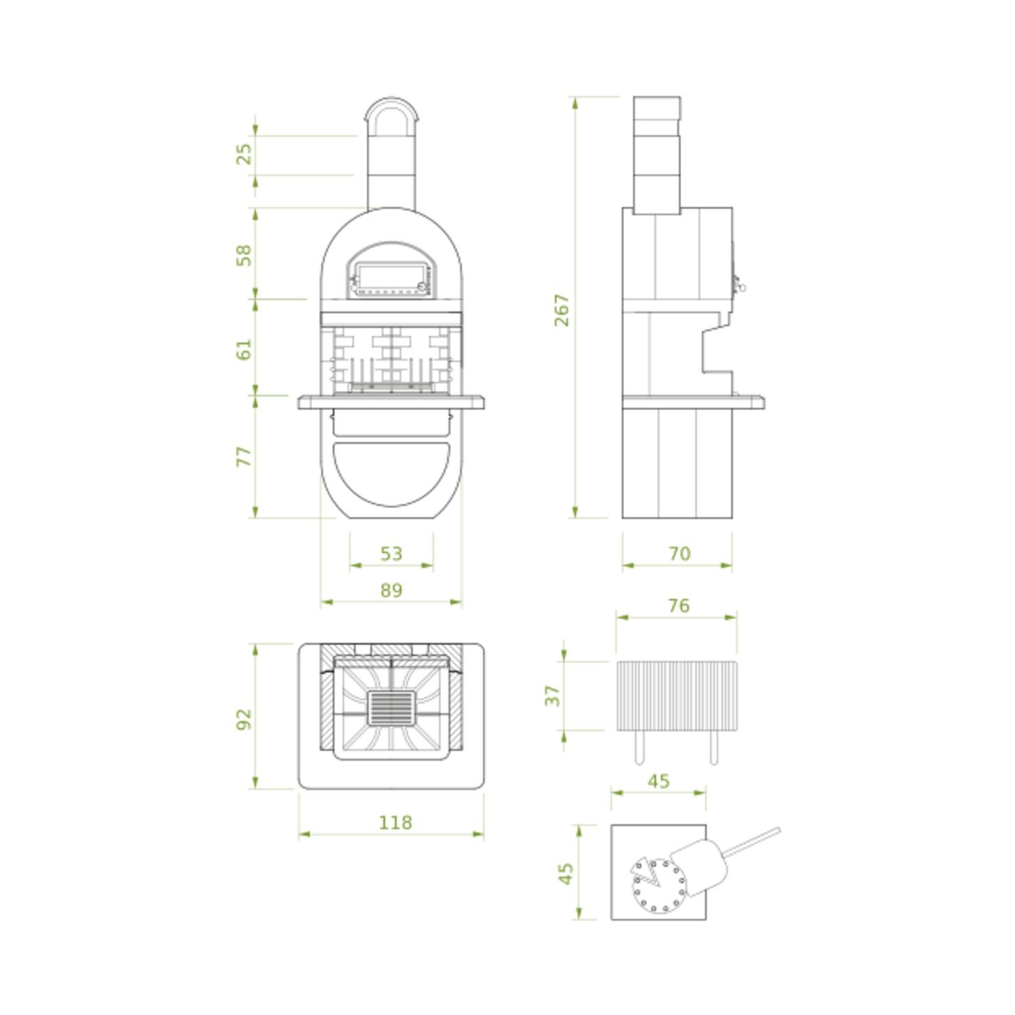 desenho tecnico da churrasqueira a lenha diva